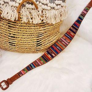Vtg Wide Mexican Blanket Belt Leather Lands End 32